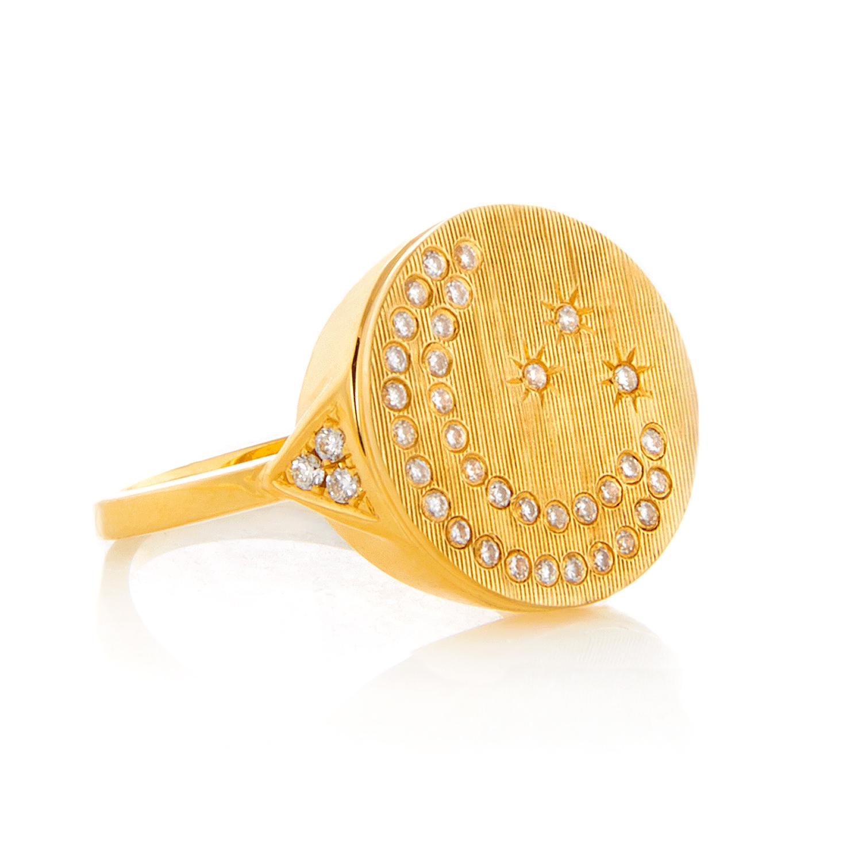 Moon & Stars, 18K Yellow Gold, Florentine Finish