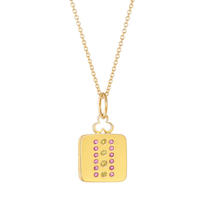 18K Yellow Gold, Small, Pink Sapphires, Yellow Diamonds