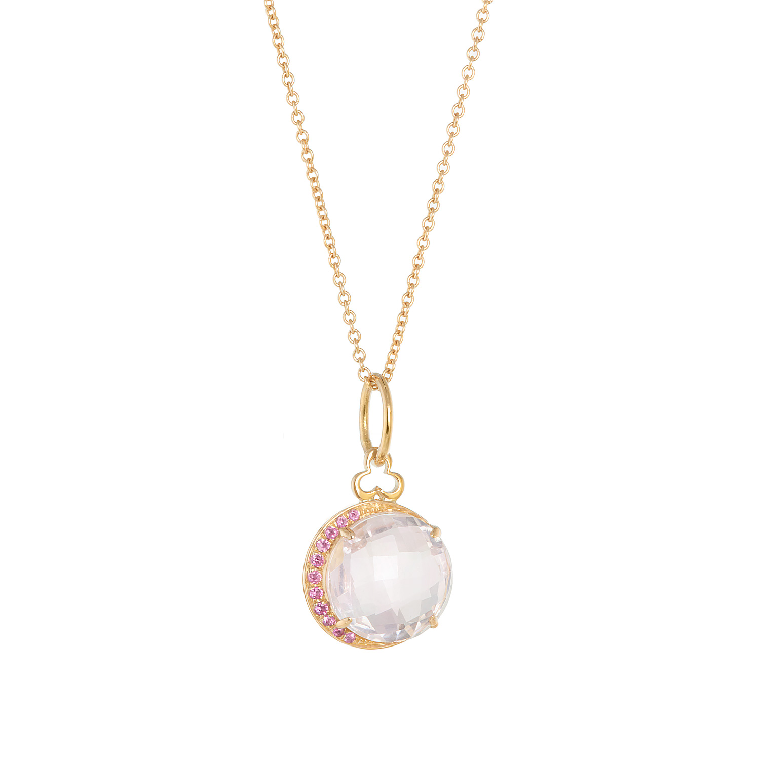 18K Yellow Gold, Rose Quartz