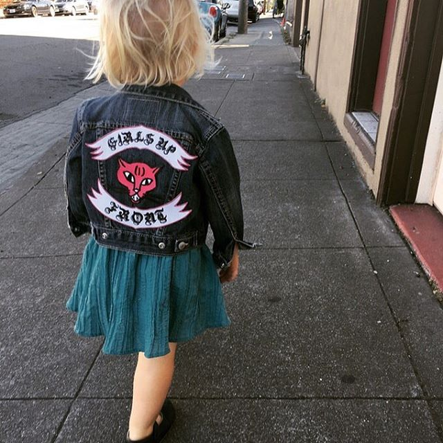 Or maybe you have $100 and you want to make your rad little feminist a little more fierce than she already is? Classic KIDS Levi's Trucker jacket with a super tough embroidered Girls Up Front Pussy back patch. Includes Temporary Tattoo and Button Set. Sizes 12mo - 8yrs