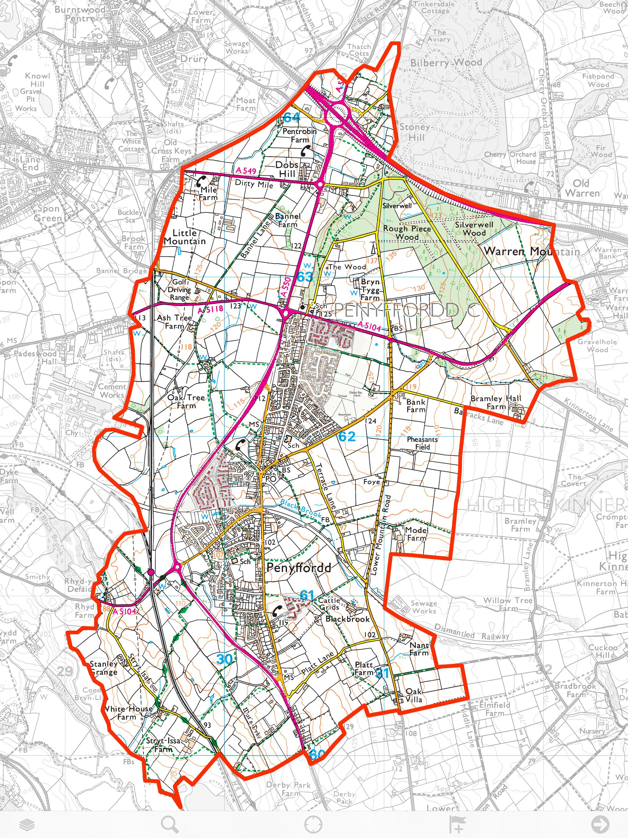 The Pen-y-ffordd Ward boundary 2017