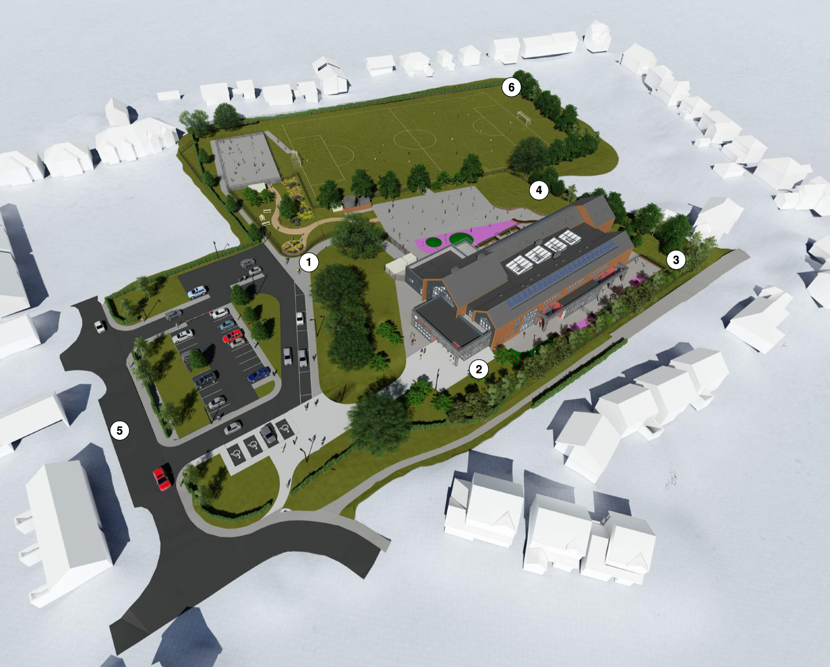 An overview of the site with Abbotsford Drive on the bottom-right and Vounog Hill at the top