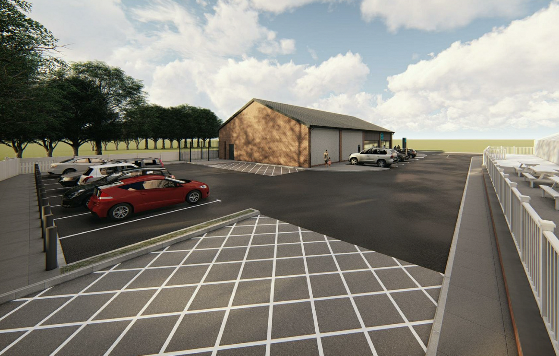 Rear view showing car parking and loading door as viewed from the vehicle turning area.