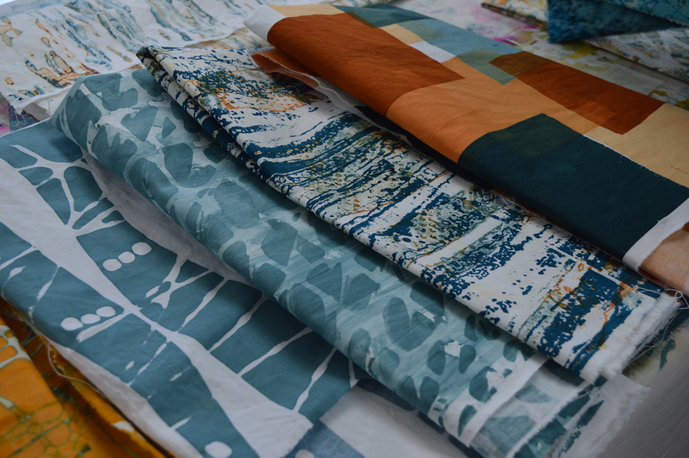 Just some of the fabrics Janet printed