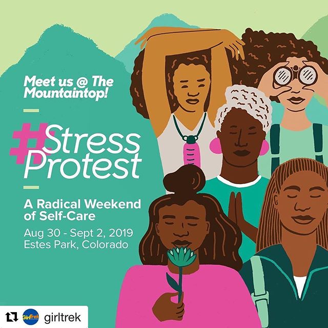 Join me at #stressprotest for this awe inspiring self-care and wellness experience during Labor Day Weekend. See link in bio for details #atrekkinyogi #selfcare #selfcareisarevoluntionaryact #blackjoy #blackbayarea #blackbusinesswoman #blackwomenhealing #blackwomenmagic #meetusonthemountaintop #travelnoire #radicalselfcare #wellnessd #Repost @girltrek with @get_repost ・・・ Registration for the 2019 #StressProtest is now open. 🔗 in bio.  Our biggest gathering yet. Imagine 1,000 beautiful Black women in the mountains of Colorado. Sunshine. Fresh air. Laughs. Hugs. Breathtaking hikes. Opportunities to learn new skills - yoga, meditation, self-defense, dance, art, music. Good food. Fellowship by the fire. Need we say more? Come alone. Bring a friend or two or ten. You won't want to miss this. Spots will go fast. Tag your people. This will surely sell out! #radicalselfcare #girlstrip #TravelNoire artwork by @andreapippins