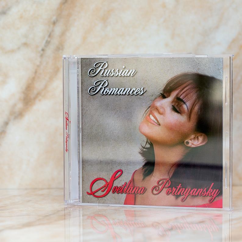 """© Los Angeles, California, USA All rights reserved.   Svetlana Portnyansky    """"Russian Romances""""   01. Ne uprekayu (I.Yoshka, N.Kulakova)  02. Gadalka (N.Shapilsky, O.Pisarzhevsky, G Frumker)  03. Tebya lyubit' (N.Shiryaev, A.Fet)  04. Musica proshlyh let (M.Minkov, U.Ribchinsky)  05. Glaza zelyonie (B.Fomin, B.Fomin)  06. Poslednyi bal (M.Minkov, U.Ribchinsky)  07. Vremya (unknown)  08. Tcherniyi brovy (Ukrainian folk song)  09. Izvozchik (L.Gutkin, I.Reznik)  10. Tol'ko raz (B.Fomin, P.German)  11. Ona govorila (unknown)  12. Composition from """"Swan Lake"""" (P.Tchaikovsky, F.Press, G.Frumker)"""