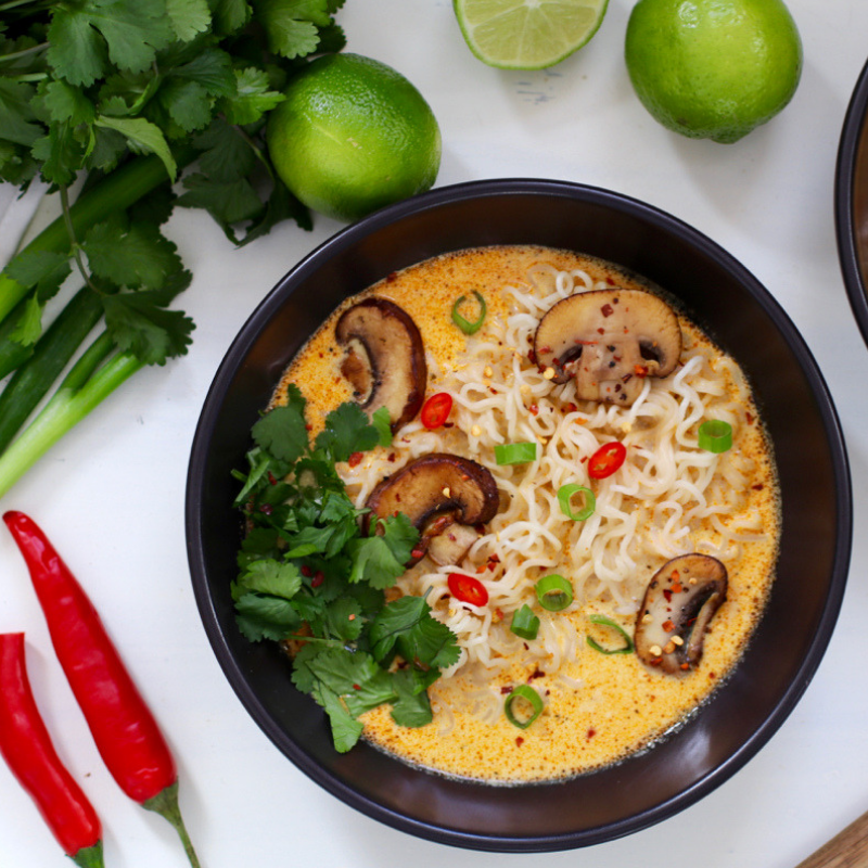 Earthy mushrooms add a full-bodied umami flavor to this traditional Thai dish.