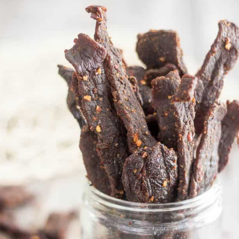 For a chemical-free homemade beef jerky with a kick, try    this recipe    from The Healthy Foodie.
