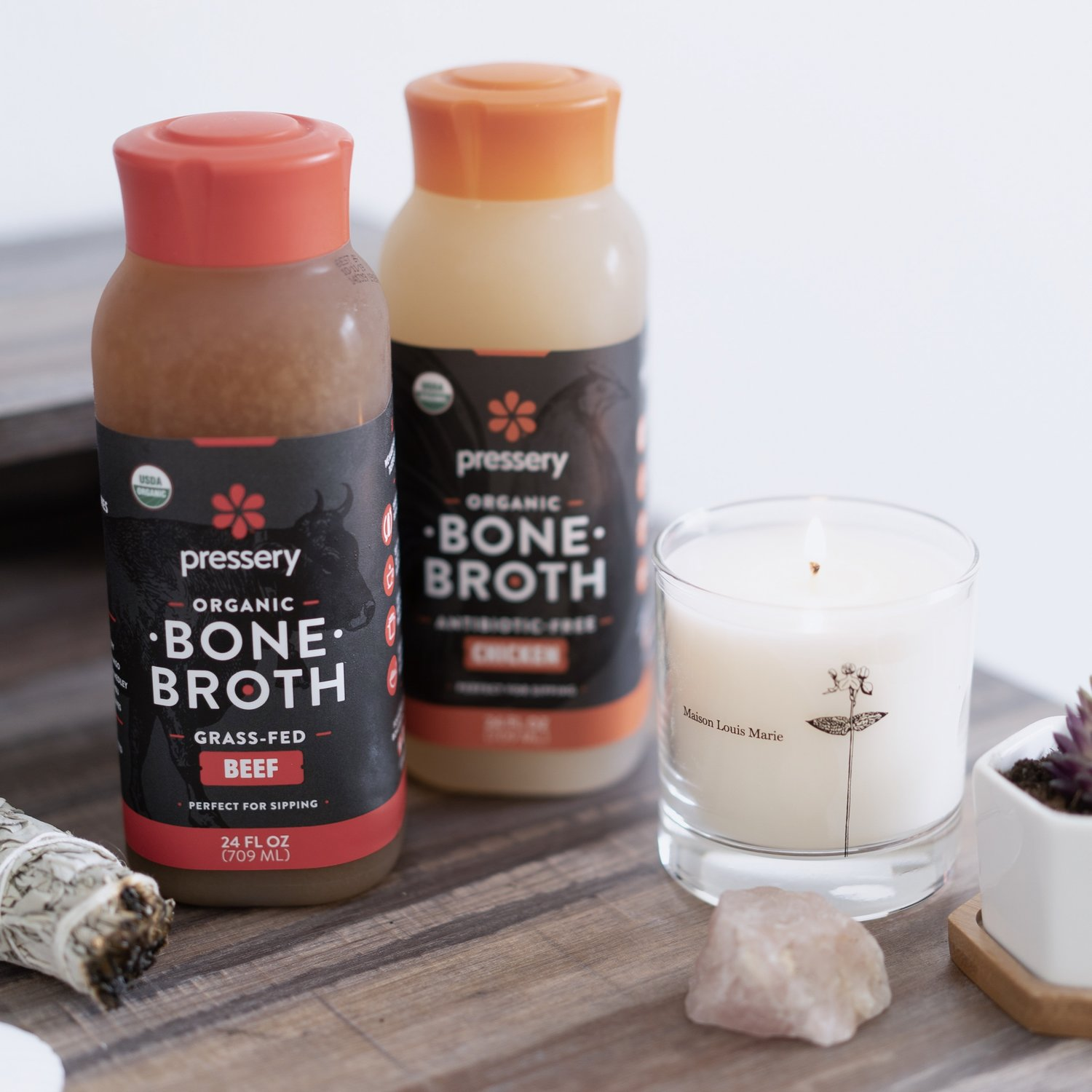 Bone broth comes in many forms, including fresh, frozen, shelf-stable, powdered, & concentrate. Read more about choosing the right type of broth for you  here .
