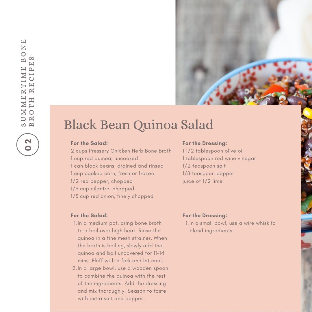 This easy bone broth quinoa salad is full of heart-healthy veggies and fiber-rich grains.