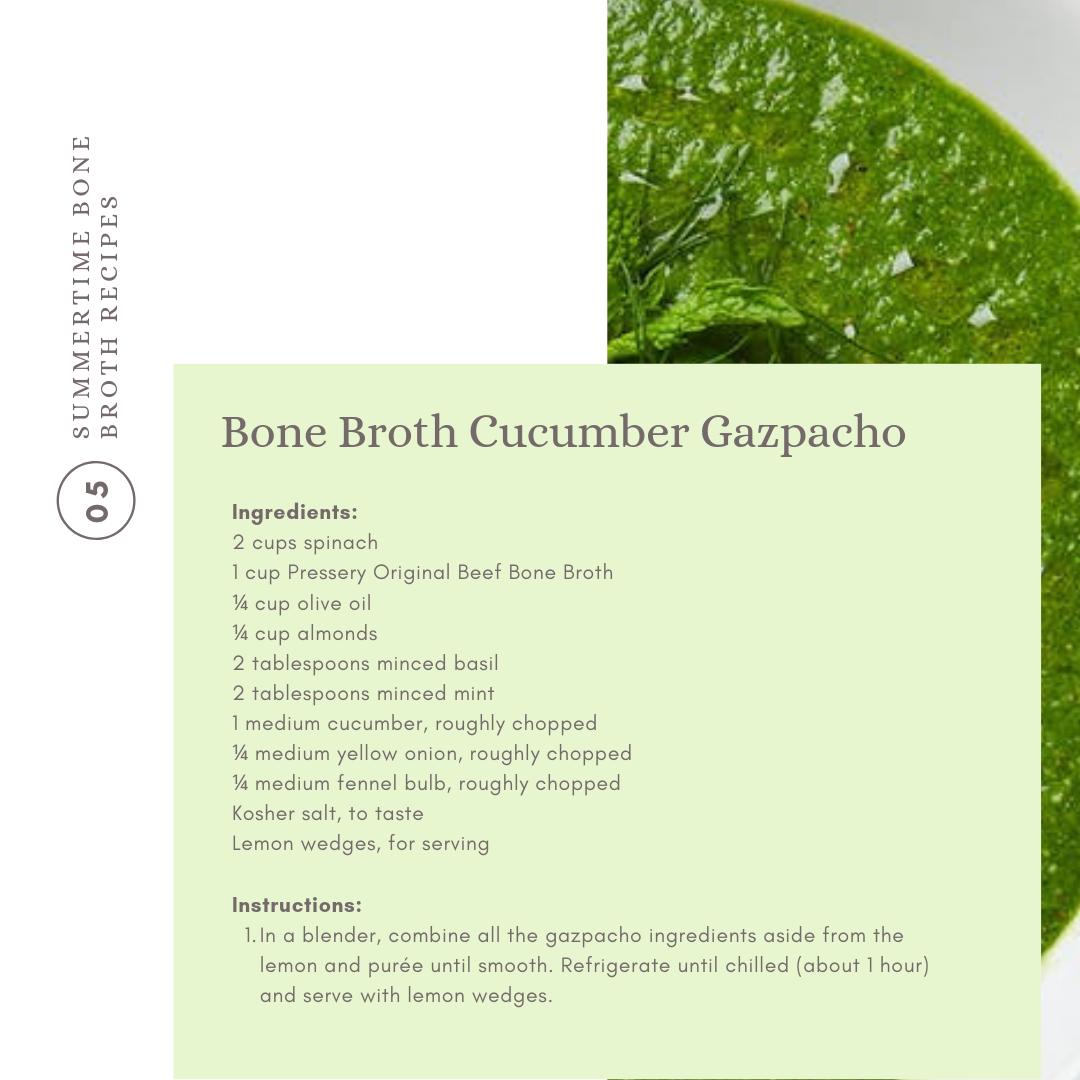 Beat the heat with chilled bone broth gazpacho goodness.