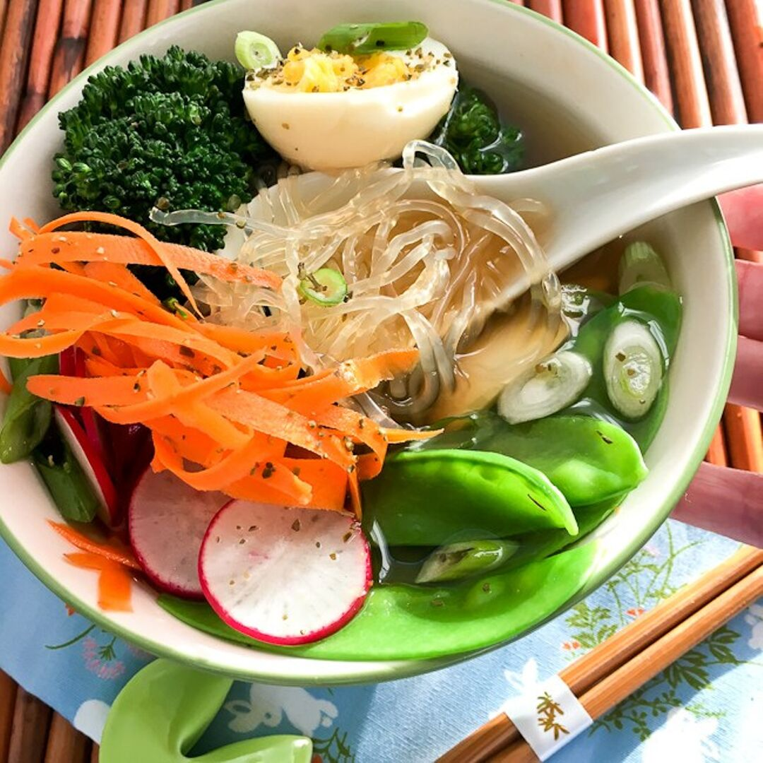 She's Cookin  can help you whip up this mouthwatering keto ramen bowl using low-carb kelp noodles.