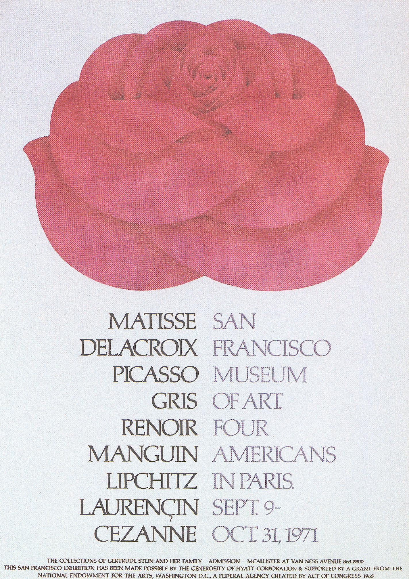 San Francisco Museum of Modern Art Gertrude Stein Family Collection.  Reis & Manwaring 1971