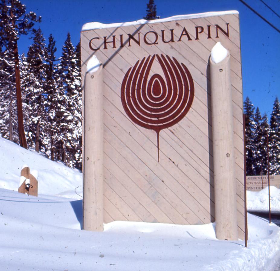 Chinquapin Development Lake Tahoe Main Entry Sign.  Reis & Manwaring 1972