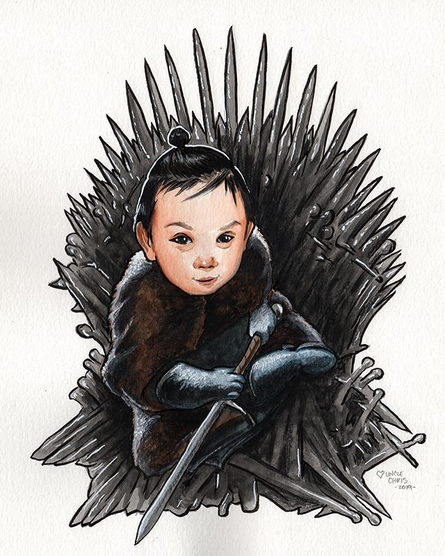 Happy birthday baby Rocky! Your parents are a couple of nerds! 🤓 . . . #got #gameofthrones #watercolor #ink #coloredpencil #chicagoart #chicagoartist