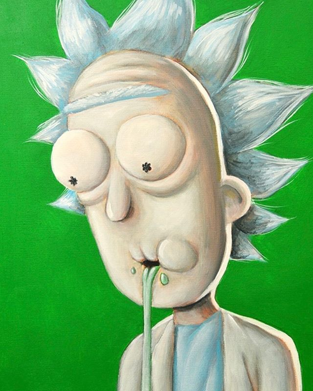 Throwback Thursday to my #RickAndMorty paintings a few years back. So ready for the next season. So many questions. How does Rick feel no longer being the Alpha male in the house again? Will he turn himself into another fruit or vegetable? And most importantly, will McDonalds bring Szechuan sauce back for the Mulan remake? . . . #fanart #chicagoart #chicagoartist