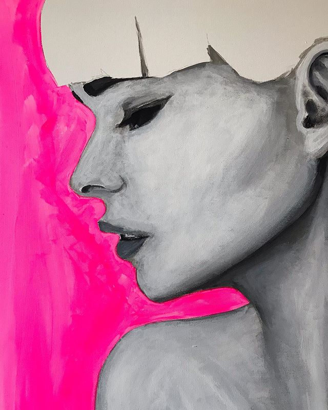 First layer of fluorescent pink 💅 #saturday . . . #art #painting #paint #acrylic #acrylicpainting #chicago #chicagoart #chicagoartist