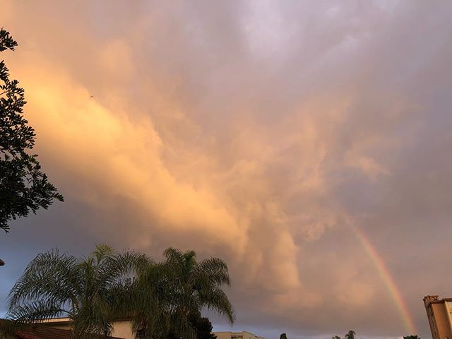 Rainbow over Point Loma this morning—from one side to the other. Partial double in the third photo. 🌈⛅️ #pointloma