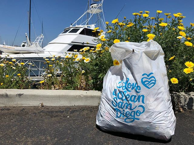 5.92 miles, 2 bags of litter. Yesterday's trash cleanup around Americas Cup Harbor and Shelter Island. #pointloma #iloveacleansandiego #trashtag