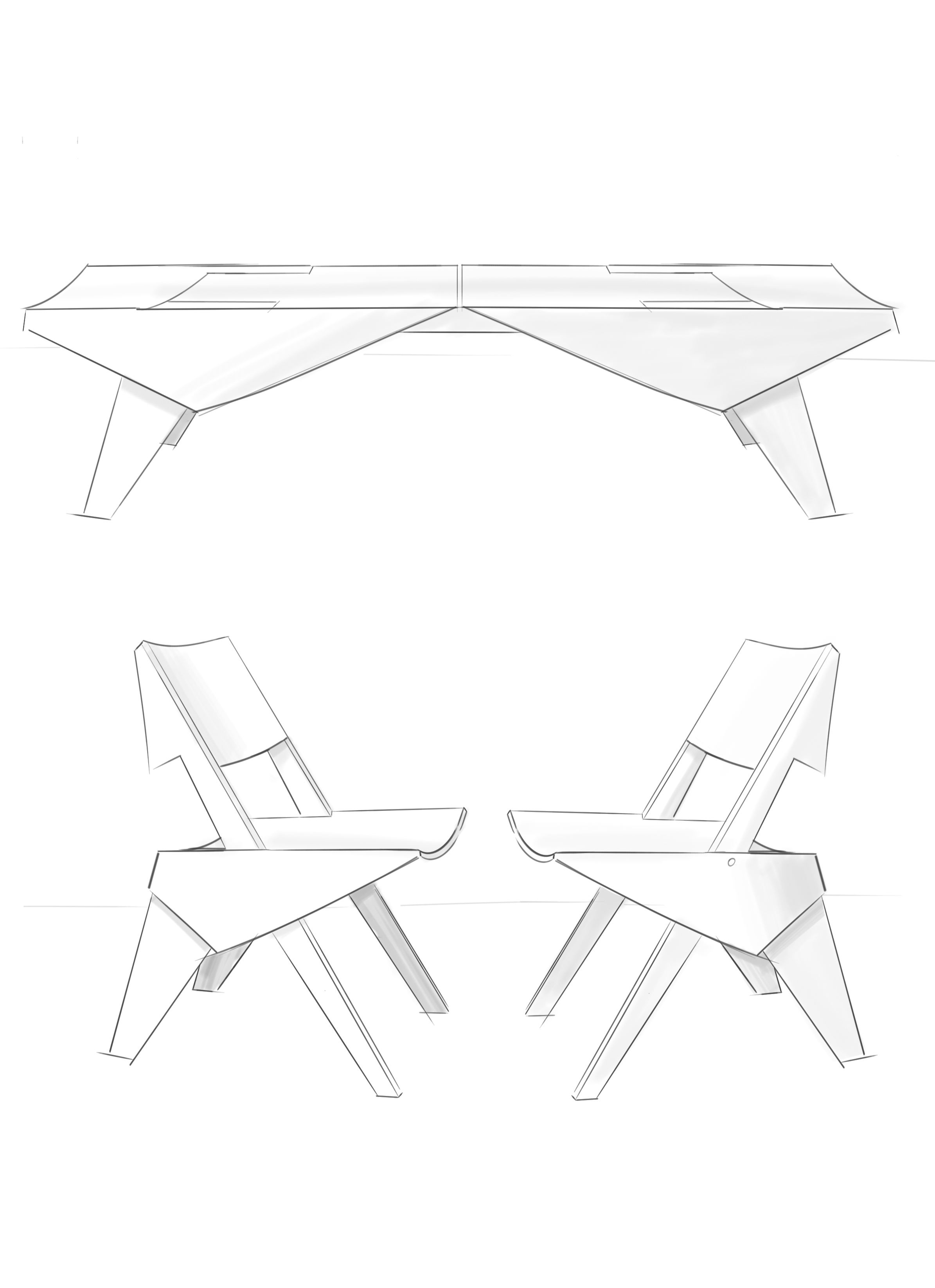 Transforming Chairs to Coffee Table   Digital, Sketchbook Pro