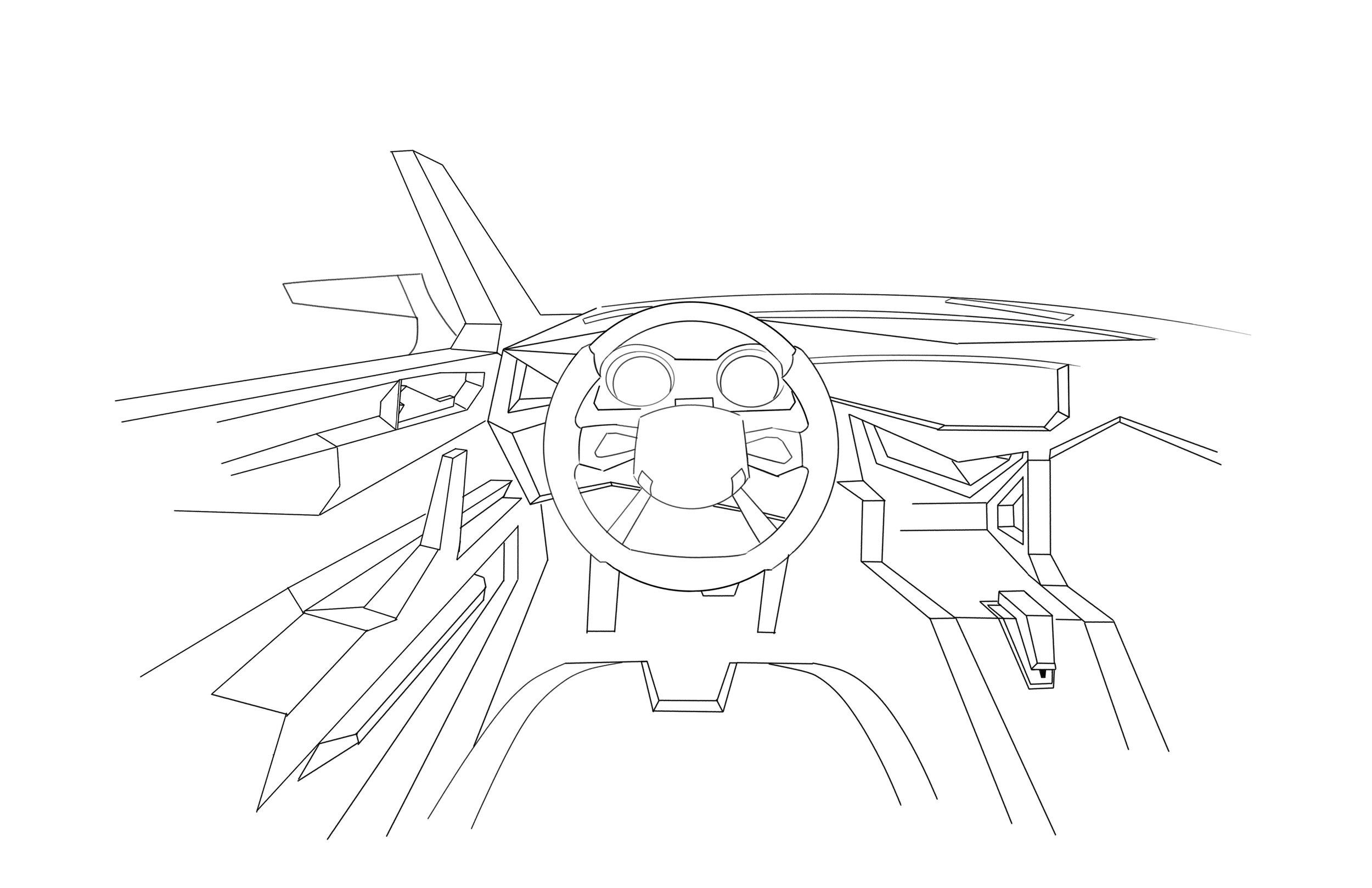 Car Design - Subaru STI Prototype, Interior Mock-Up   Digital Sketch, Sketchbook Pro
