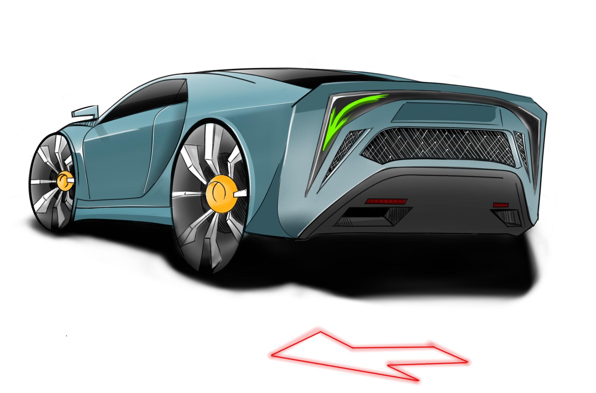 Car Design - Subaru STI Prototype   Digital Sketch, Sketchbook Pro