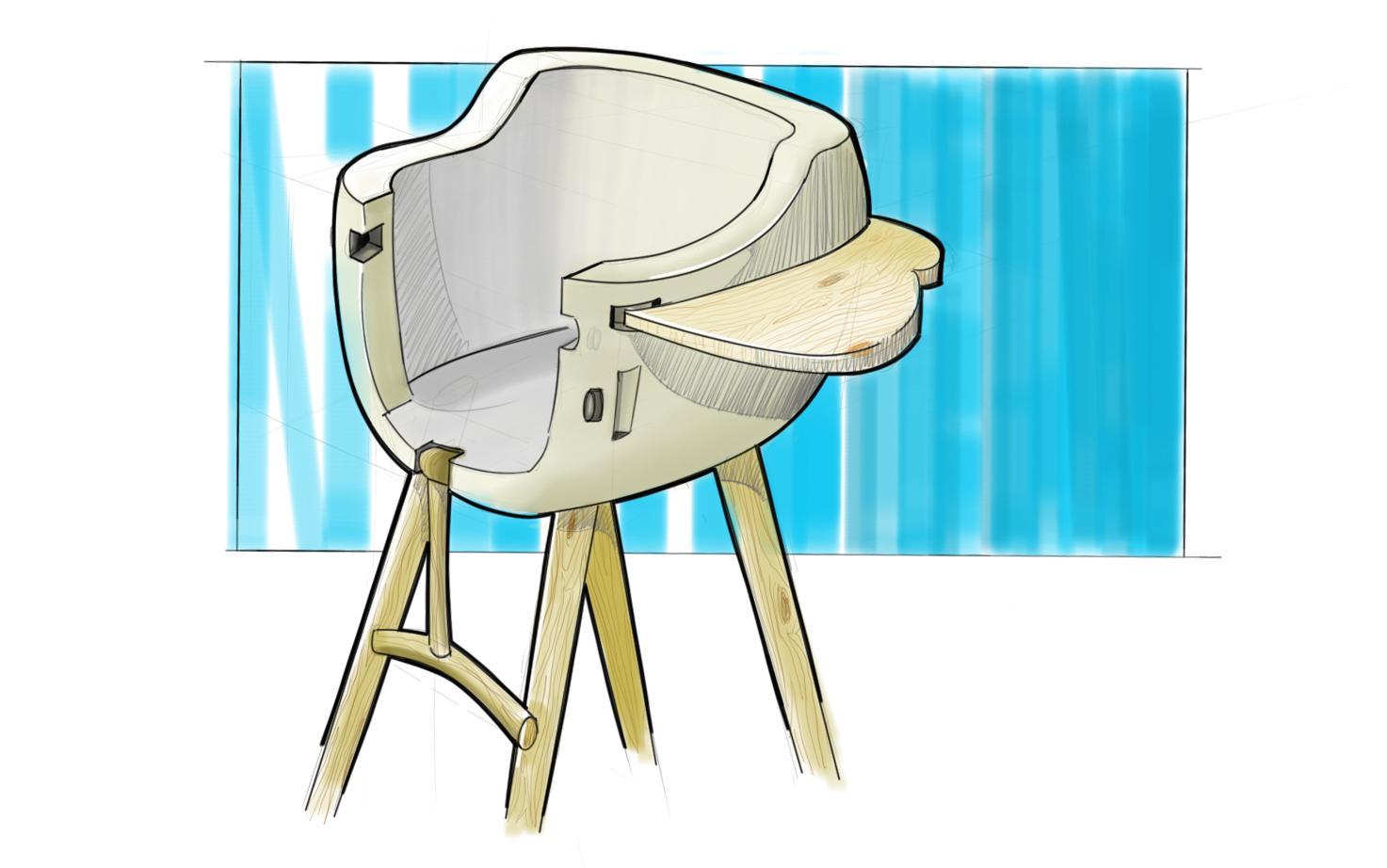 High-Chair Rendering   Digital, Sketchbook Pro