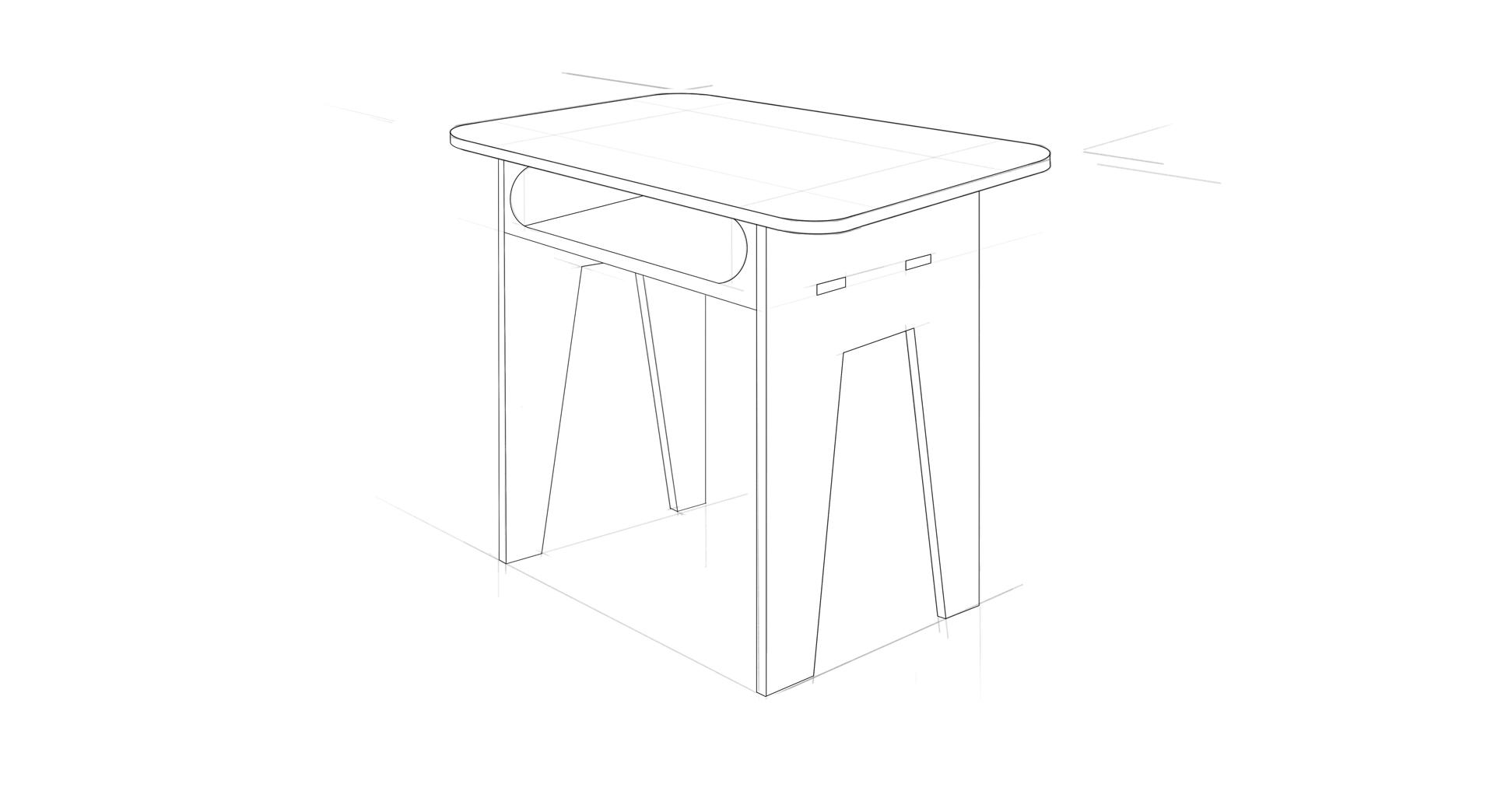 Flat-Pack Desk, Final Sketch   Digital Sketch, Sketchbook Pro