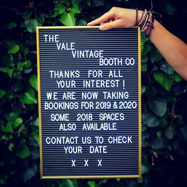 Thanks for all of your support so far you lovely people 💛 We are booking way in to the future ✌ Check your date boothers...you can email us at hello@vintagevalebooth.co.uk, contact us through www.valevintagebooth.co.uk or message us through the magic of Instagram or Facebook.