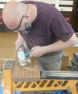 - Carving the heart bowl with angle grinder in the Sapele wood dish.