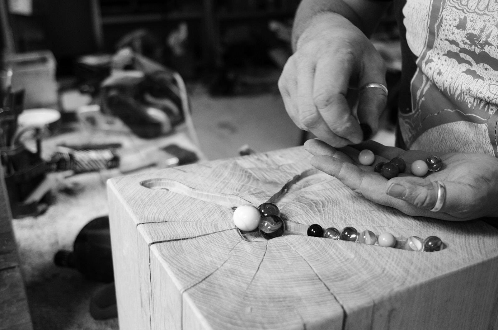 Preparing the Oak stool for casting with hand made marbles