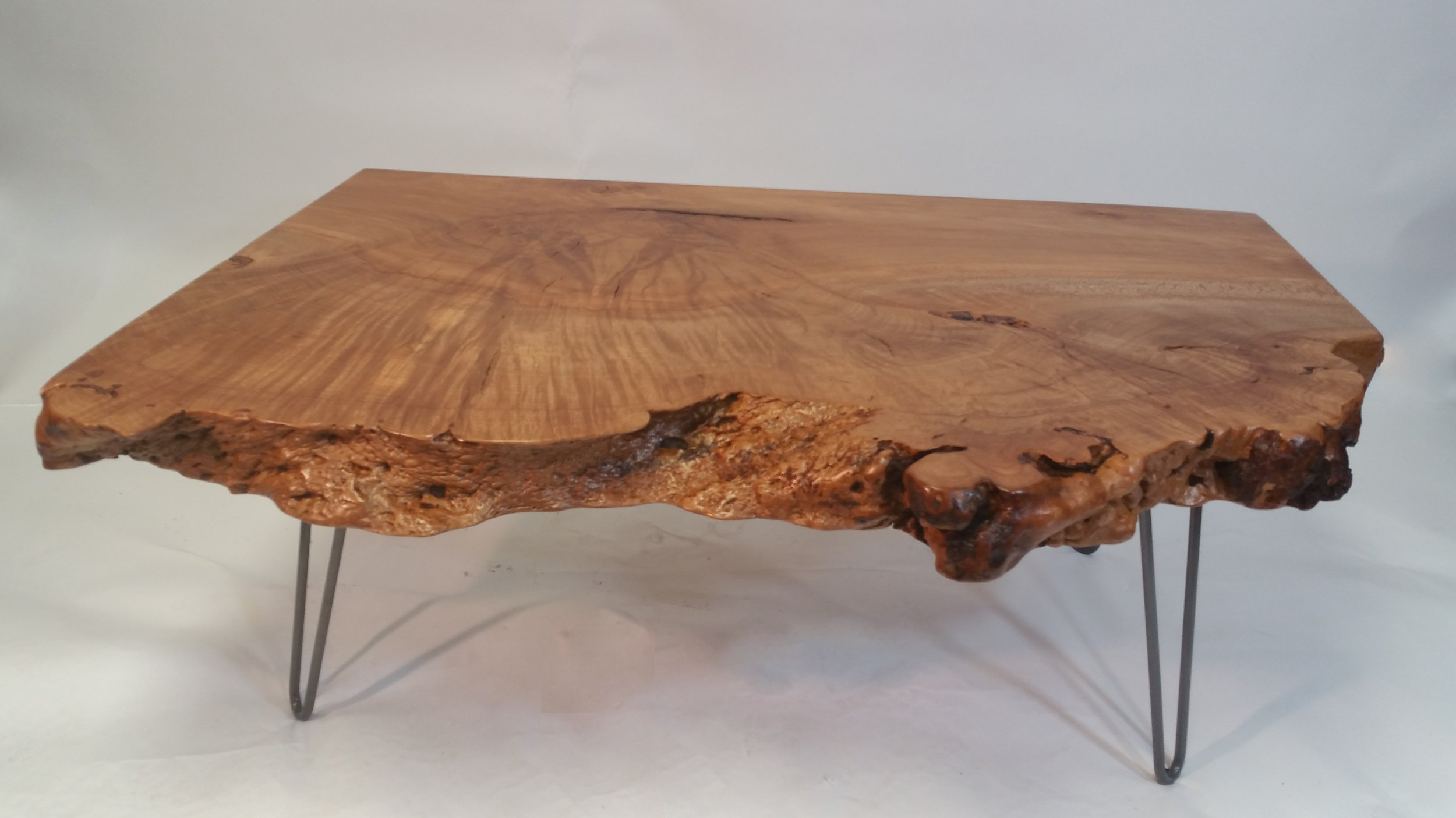 Beech Slab Coffee Table with Hairlegs