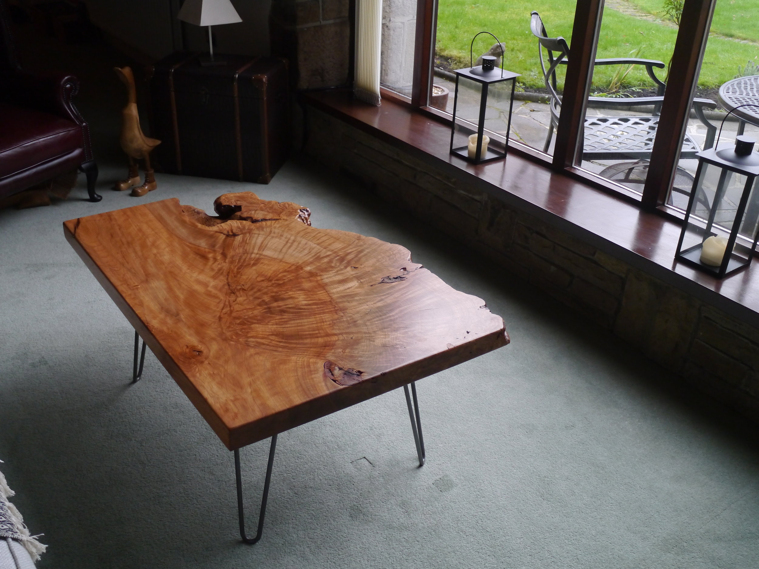The Beech Slab table in its new home.