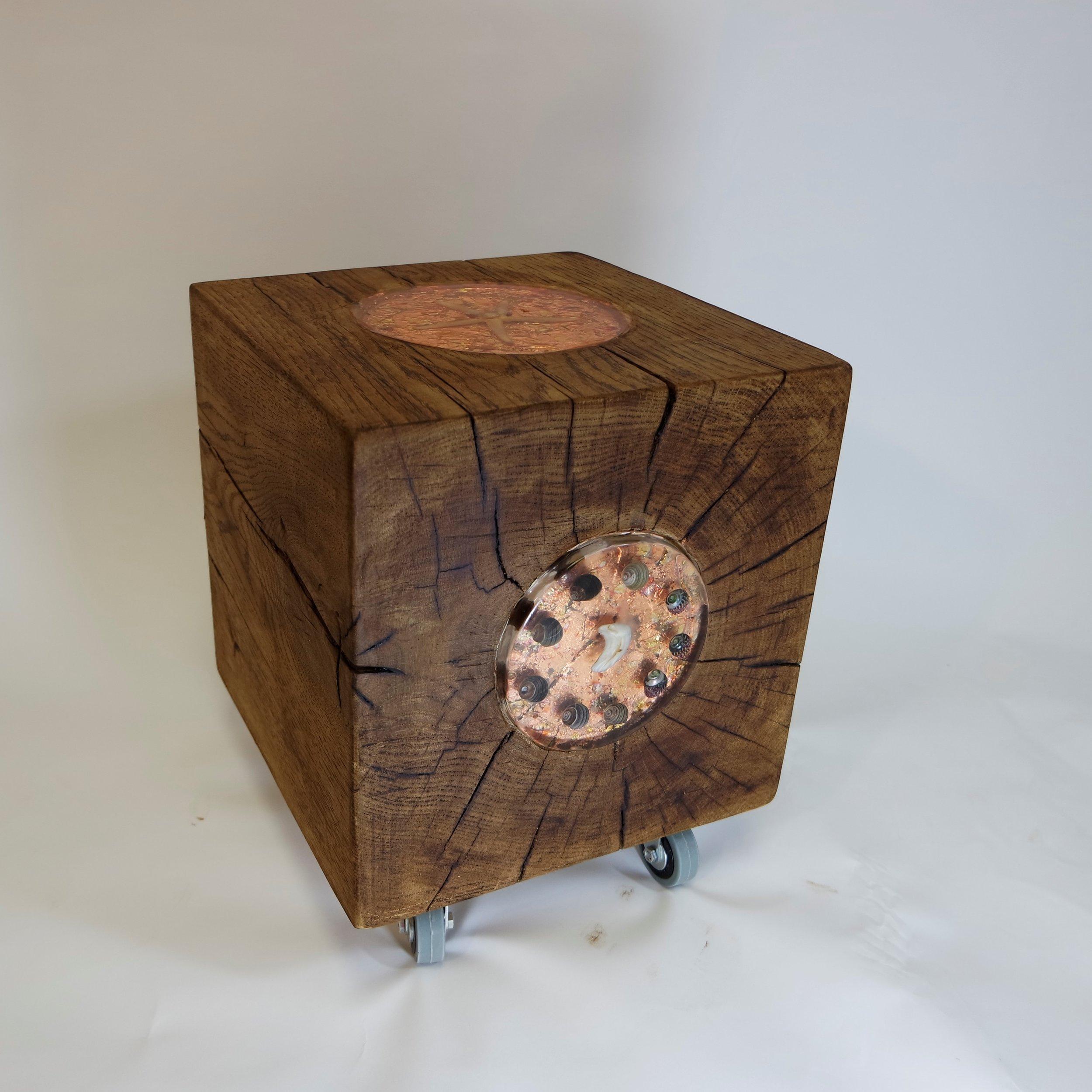 Oak Cube With Bronze Leaf and shells  (32).JPG