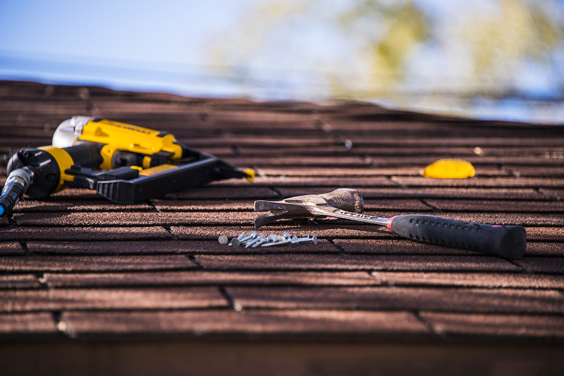 tools on top of a roof