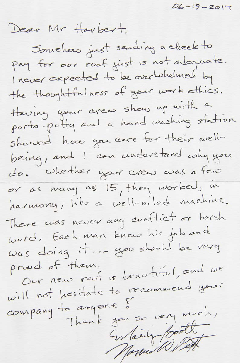 Mr. and Mrs. Booth written testimonial about roofing services