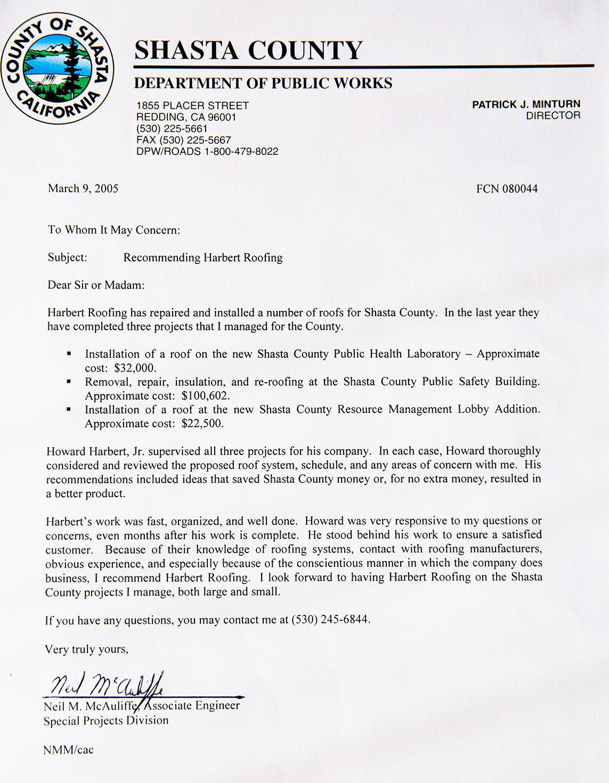 Shasta County Dept. of Public Works Testimonial Printed
