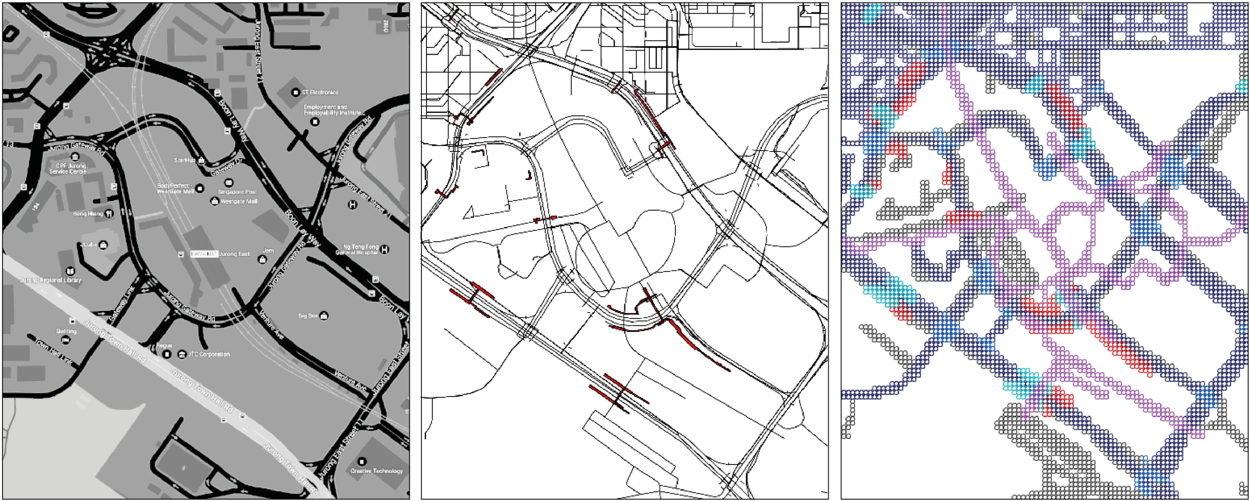 Figure 8b.  GIS Vector data (left) translated into poly-voxel data (right).  The translation differentiates between different path types such as roads, sidewalks, and pedestrian bridges. The purple network is an elevated walkway.