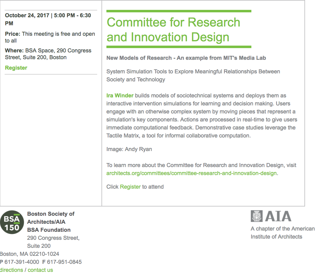Screen Capture from  BSA Committee for Research and Innovation Design