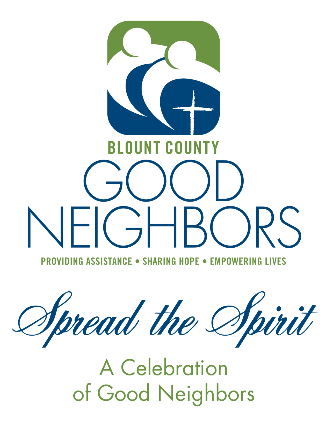 Spirit of Good Neighbors Dinner 2019 - Join us for our 7th Annual Spread the Spirit dinner!We will gather together to acknowledge and honor many of the good neighbors of Blount County.The event will take place at New Providence Presbyterian Church on November 7th at 6:00 p.m.Please nominate a good neighbor by clicking the button below. Nominations are due by October 18, 2019. Thank you!