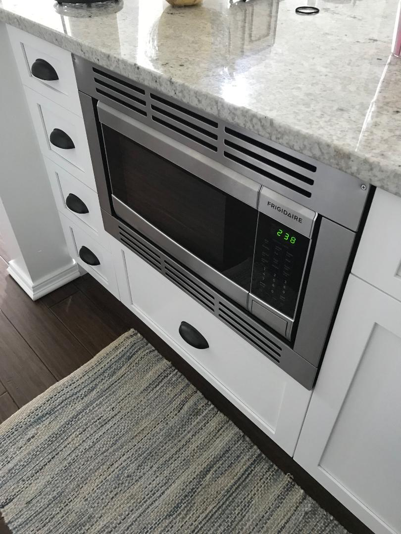 """Our """"built in"""" hidden microwave. I don't recommend Frigidaire, this is the only microwave available that fit our space. It broke a month after we moved in and it took Frigidaire almost 2 months to replace it. Needless to say, I'm not a fan of theirs."""