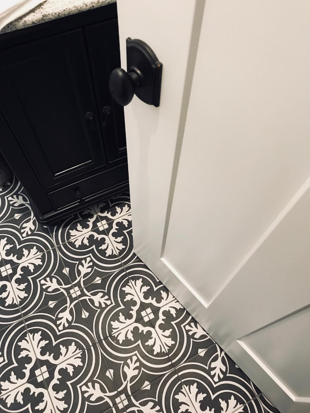 Black and white Tile: Black and while tile was popular and widely used throughout the 1920's. So, I decided to do something fun in the powder and laundry room. At first I was unsure about this bold print but now I wish we had more of it! I love how it turned out and we get a lot of compliments on it.