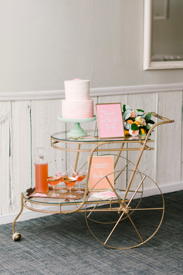Colorful Pink & Yellow Summer Wedding Photoshoot   This simply beautiful pink ombre cake was featured by the   Aisle Society  . Photography by Alicia King Photography
