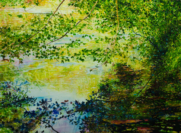 Ross Barbera, Early Fall South Shore Pond, watercolor on paper, 22 x 30, 2015