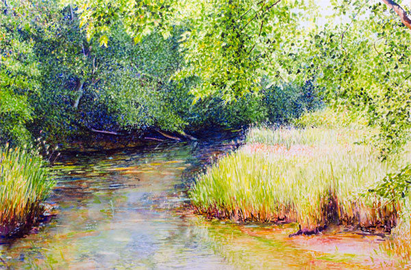 Ross Barbera, Stream by the Grist Mill, Watercolor Mounted on Canvas, 22 x 30, 2017