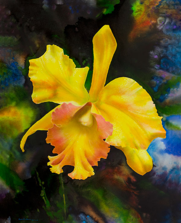 Ross Barbera, Yellow Orchid, Mounted Watercolor on Canvas, 42 x 32, 2015
