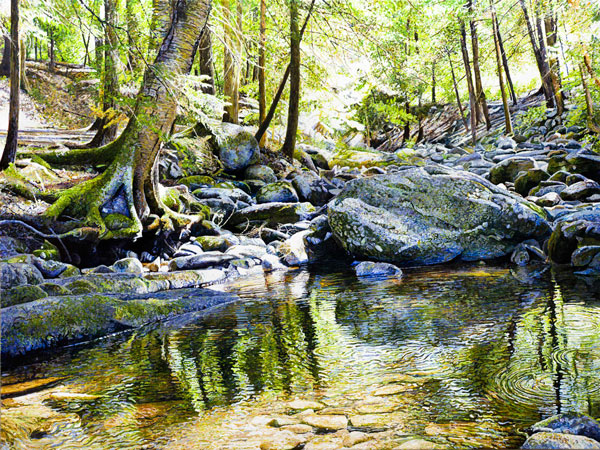 Ross Barbera, Kent Falls, Acrylic on Canvas, 48 x 64, 2016