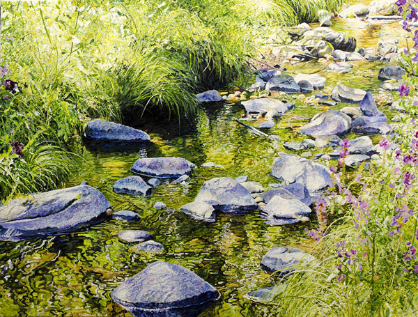 Ross-Barbera,-Kent-Falls,-Downstream,-Acrylic-on-Canvas,-32-x-42,-2015