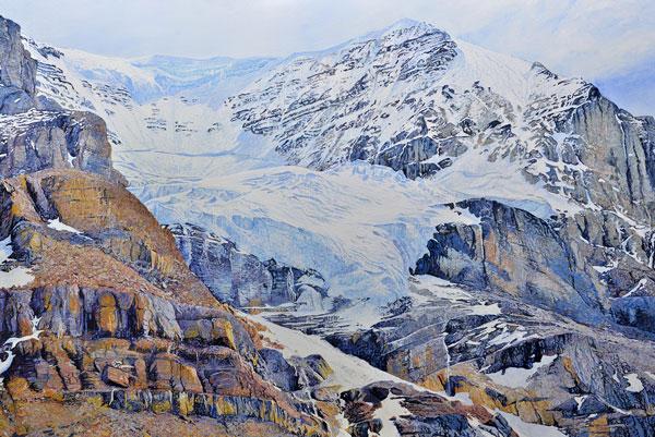 The-Athabasca-Glacier,-Alberta-Canada,-Acrylic-on-Canvas,-48-x-72,-2016