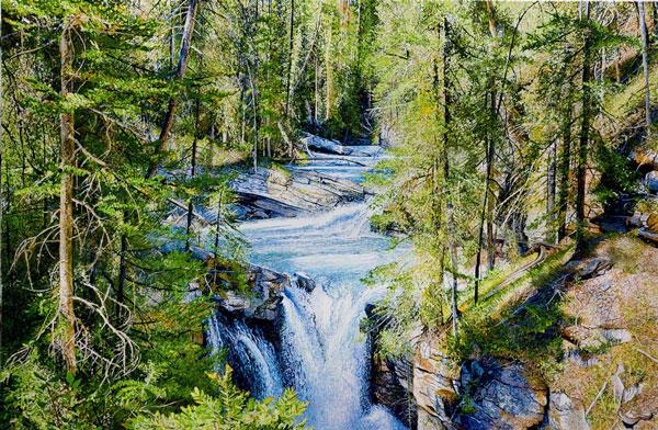 Somewhere Along Johnston Canyon, Alberta Canada, Acrylic on Canvas, 48 x 72, 2017